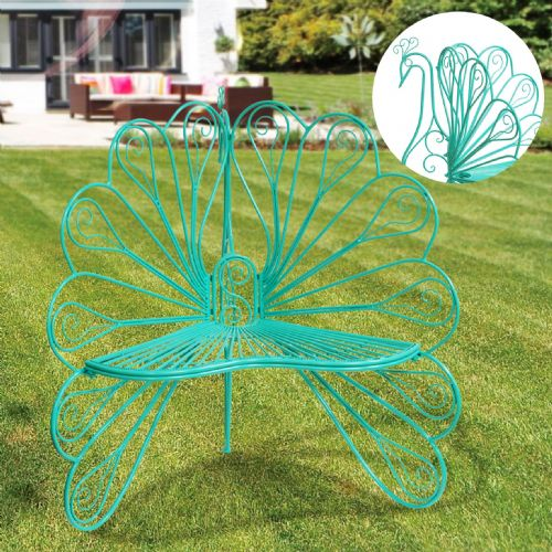 Metal Peacock Garden Chair - Green Ornate Wroght Metal Peacock Chair